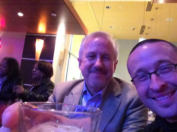 Peter Troast of Energy Circle and Nate Adams of Energy Smart Home Performance having a drink after presenting on social media and blogging at the 2014 Detroit ACI show