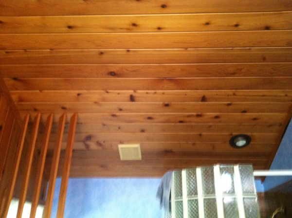 Tongue And Groove Wood Leaks Air Like Crazy. This Is The Ceiling Of A  Bathroom