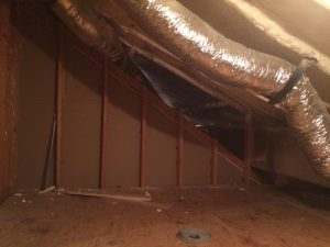 Cape Cod knee wall attic after spray foam, still has leaks to seal