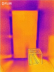 Infrared image of a leaky hatch to a knee wall attic