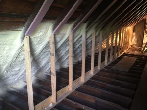 Partially complete attic spray foam job