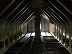 Attic is prepped, insulation is removed, new knee walls, and extra supports added