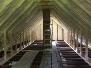 Completed attic spray foam, this third floor can now be used once it gets some drywall.