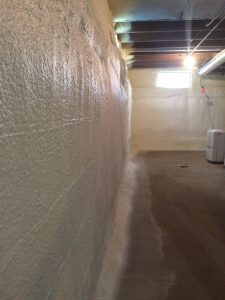 Completed spray foam job on basement walls of 1915 case study home in Peninsula OH