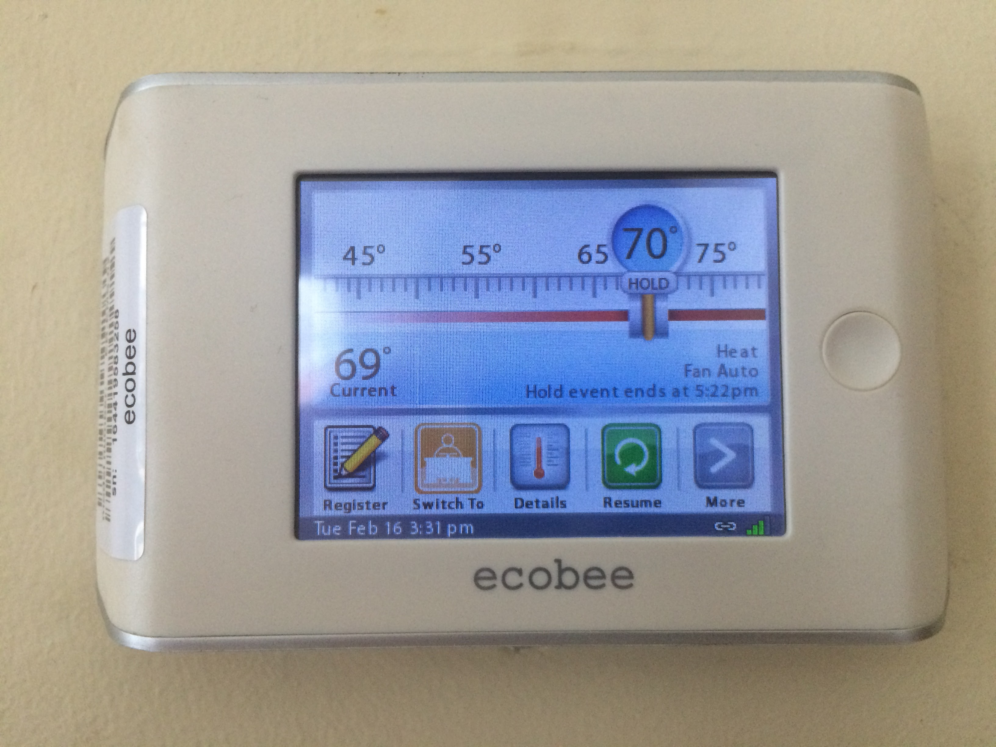 ecobee smart si thermostat wiring diagram on refrigerator