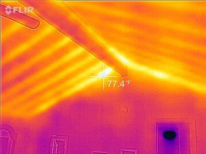 Cathedral ceiling in infrared after spray foam. Note the knee wall is no longer hot/cold.