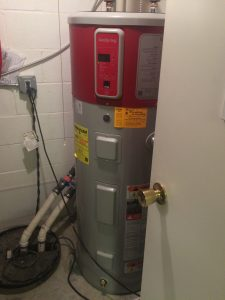New heat pump water heater has similar installed and operating costs as higher end natural gas water heaters, but can't have combustion safety problems. We're fans.
