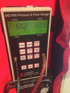Final blower door reading 1809 down from 3349, a 46% air leakage reduction.