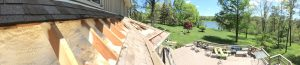 Lovely panorama showing both an exotic spray foam job and a lovely back yard